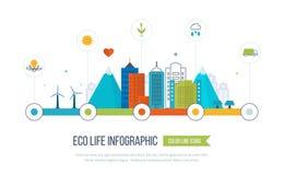 Зеленый город eco infographic Концепция экологичности, Стоковая Фотография RF