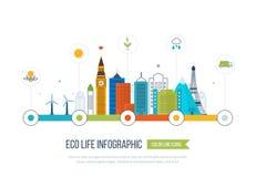 Зеленый город eco infographic Концепция экологичности, Стоковые Фото