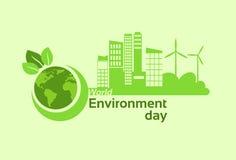 Зеленый день мировой окружающей среды панели солнечной энергии ветротурбины силуэта глобуса планеты земли города Стоковое Изображение RF