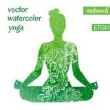 Зеленый женский силуэт в представлении йоги Стоковые Фотографии RF
