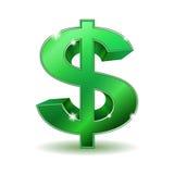 Зеленый знак доллара Стоковые Изображения