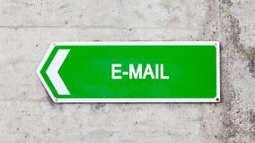 Зеленый знак - электронная почта Стоковое Фото
