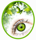 Зеленый значок зрения иллюстрация штока