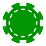 Зеленый значок обломока покера плоский изолированный на белизне Стоковые Фото