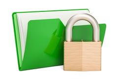 Зеленый значок папки компьютера с padlock, переводом 3D Стоковая Фотография RF