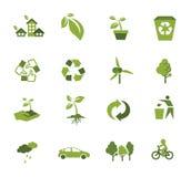 Зеленый значок экологичности иллюстрация вектора