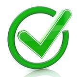 Зеленый значок 3d знака тикания Стеклянный символ контрольной пометки Стоковые Изображения RF