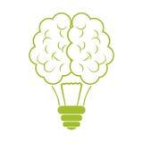 Зеленый дизайн значка шарика мозга иллюстрация вектора