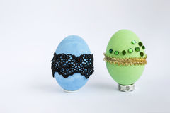 Зеленый и голубой дизайн пасхального яйца Стоковые Фотографии RF