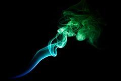 Зеленый и голубой дым Стоковая Фотография