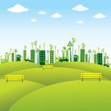 Зеленый или дружественный к эко дизайн города Стоковые Изображения