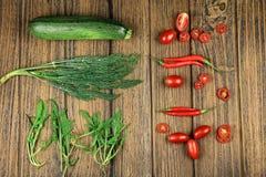 Зеленый и красный комплект овощей Стоковые Изображения RF