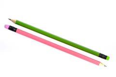 Зеленый и розовый карандаш Стоковая Фотография