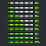 Зеленый комплект бара прогресса 10-100% иллюстрация штока