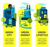 Зеленый комплект города Охрана окружающей среды, установленные знамена концепции экологичности вертикальные также вектор иллюстра Стоковая Фотография