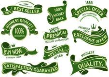 Зеленый комплект ленты знамени иллюстрация вектора