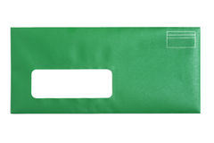 Зеленый конверт окна Стоковые Изображения