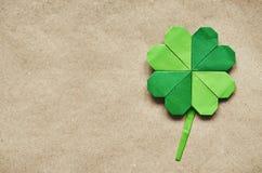 Зеленый клевер shamrock бумаги origami Стоковое Изображение