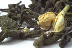 Зеленый макрос чая жасмина Стоковая Фотография RF