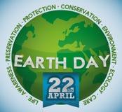 Зеленый мир с значениями вокруг торжества дня земли, иллюстрации вектора Стоковые Фото