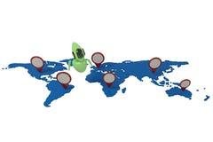 Зеленый милый робот с картой мира иллюстрация штока