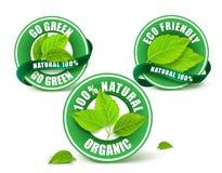 Зеленый органический комплект ярлыков, значка или уплотнения Стоковое Изображение