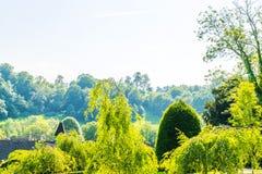Зеленый парк, свеже отрезанная вегетация, хорошо поддерживаемый парк, walkin Стоковое Фото