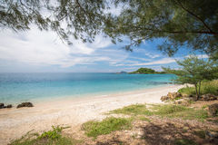 Зеленый пляж ясного голубого моря с голубым небом Стоковое фото RF