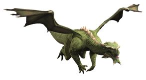 Зеленый дракон в полете Стоковые Фотографии RF