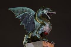 Зеленый дракон на ноче Стоковые Фотографии RF