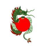 Зеленый дракон с кругом Стоковые Изображения