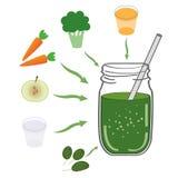 Зеленый рецепт smoothie С иллюстрацией ингридиентов Стоковое Изображение RF