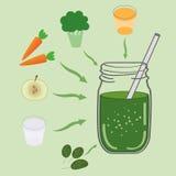 Зеленый рецепт smoothie С иллюстрацией ингридиентов Стоковое фото RF