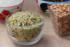 Зеленый рис на древесине Стоковая Фотография