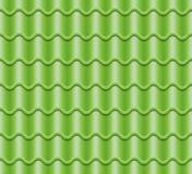 Зеленый рифлёный вектор плитки Элемент крыши картина безшовная Классическая иллюстрация крышки керамических плиток иллюстрация штока