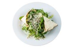 Зеленый салат и сыр с papadum Стоковые Изображения RF