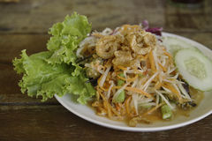 Зеленый салат папапайи с креветкой Стоковое Изображение RF