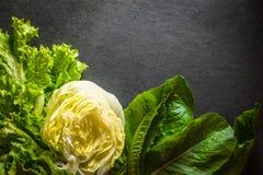 Зеленый салат, салат айсберга и шпинат вышли на таблицу Стоковые Фотографии RF