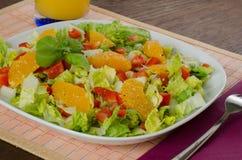 Зеленый салат с красным перцем и свежим апельсином Стоковые Фотографии RF