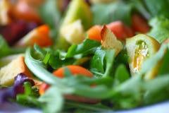 Зеленый салат с миниатюрными томатами heirloom стоковые изображения rf