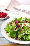 Зеленый салат с семенами шпината, frisee, arugula, radicchio и гранатового дерева на голубой деревянной предпосылке Стоковые Изображения RF