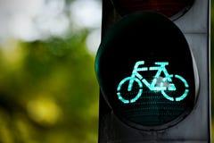 Зеленый светофор для велосипедов Стоковое Фото