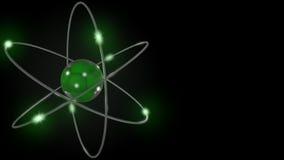 Зеленый стилизованный атом и электронные орбиты перевод 3d Стоковое Фото