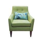 Зеленый стул при изолированная подушка Стоковое Изображение RF