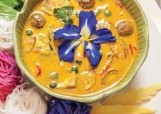 Зеленый суп карри Стоковая Фотография
