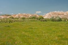 Зеленый луг на предпосылке горной цепи Стоковое фото RF