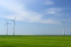 Зеленый луг при ветротурбины производя электричество Стоковые Изображения
