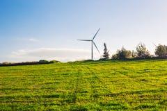Зеленый луг при ветротурбины производя электричество стоковая фотография