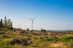 Зеленый луг при ветротурбины производя электричество стоковая фотография rf