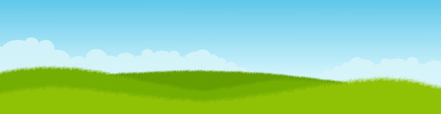 Зеленый лужок и голубое небо панорама Стоковое Изображение RF